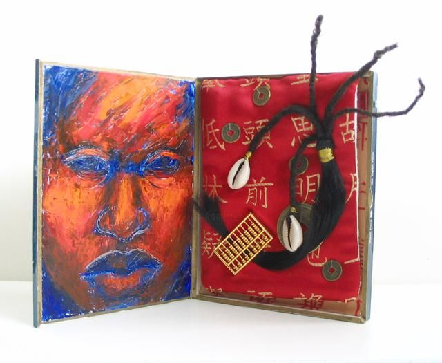 Hair Traffic - Painting,  2.4x3.9 in, ©2007 by Juarez Hawkins -                                                              Mixed media assemblage featuring portrait of a woman