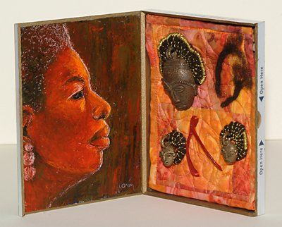 mama Said - Collages,  6x10 in, ©2007 by Juarez Hawkins -                                                              Mixed media assemblage featuring portrait of woman
