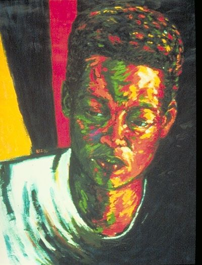 Meta - Painting,  48x36 in, ©1993 by Juarez Hawkins -                                                              Portrait of a young African American woman