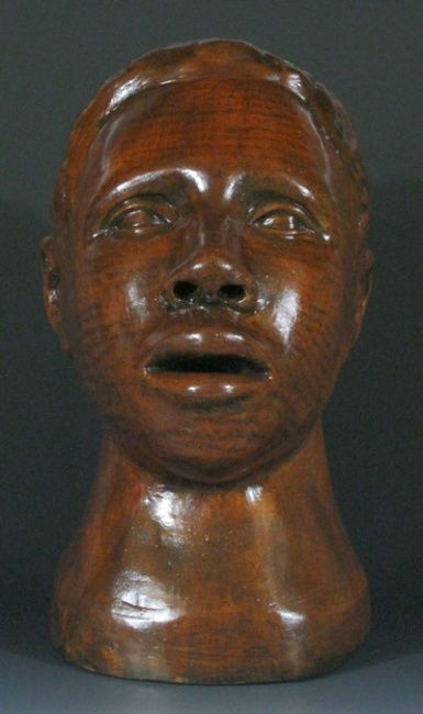Headtrip 2 (front view - Sculpture, ©2011 by Juarez Hawkins -                                                              Polychromed clay bust