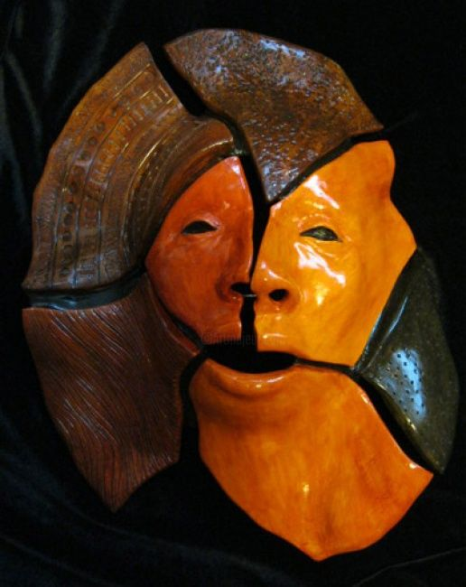 Fractured - Sculpture ©2011 by Juarez Hawkins -            Polychromed ceramic with carvings