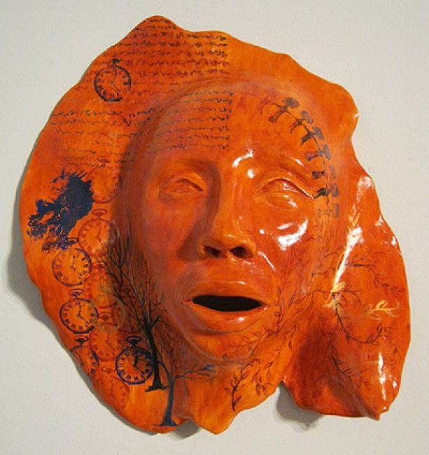 Meditations on Aging 2 - Sculpture ©2012 by Juarez Hawkins -            Polychromed and screenprinted ceramic mask