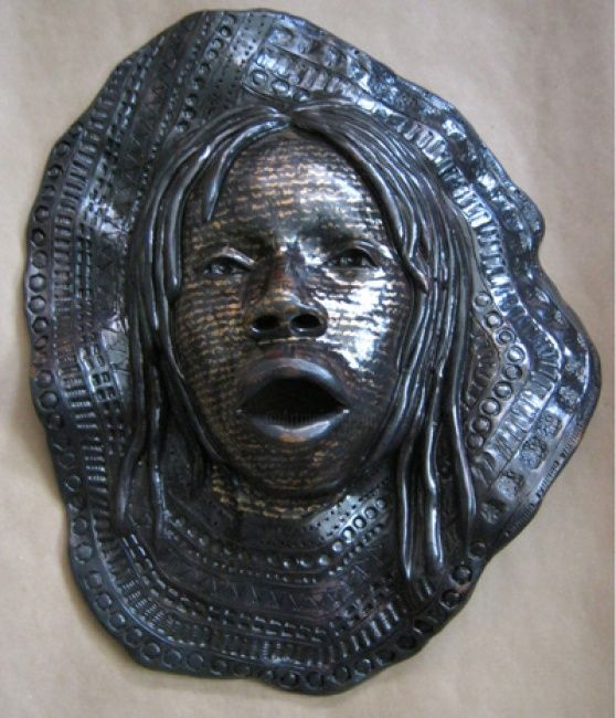 Melody - Sculpture ©2011 by Juarez Hawkins -            Stoneware mask with oxides and acrylics