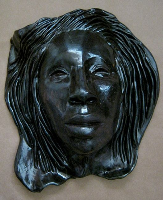 Obsidian - Sculpture ©2011 by Juarez Hawkins -            Ceramic mask with oxides