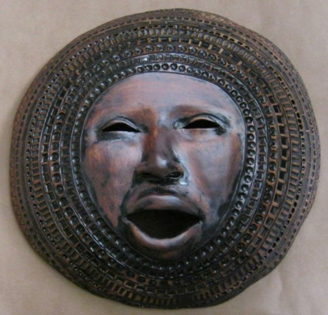 Sun Disk - Sculpture ©2011 by Juarez Hawkins -            Ceramic mask with oxides and stamping