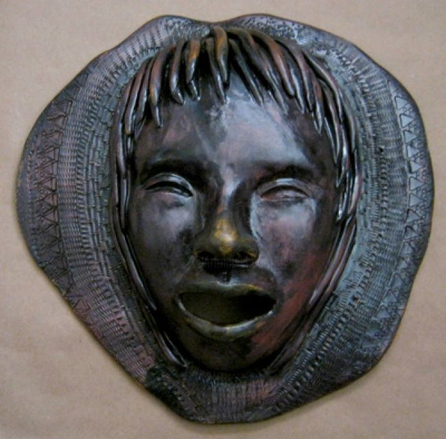 Relic 2 - Sculpture ©2011 by Juarez Hawkins -            Ceramic mask with oxides and stamping