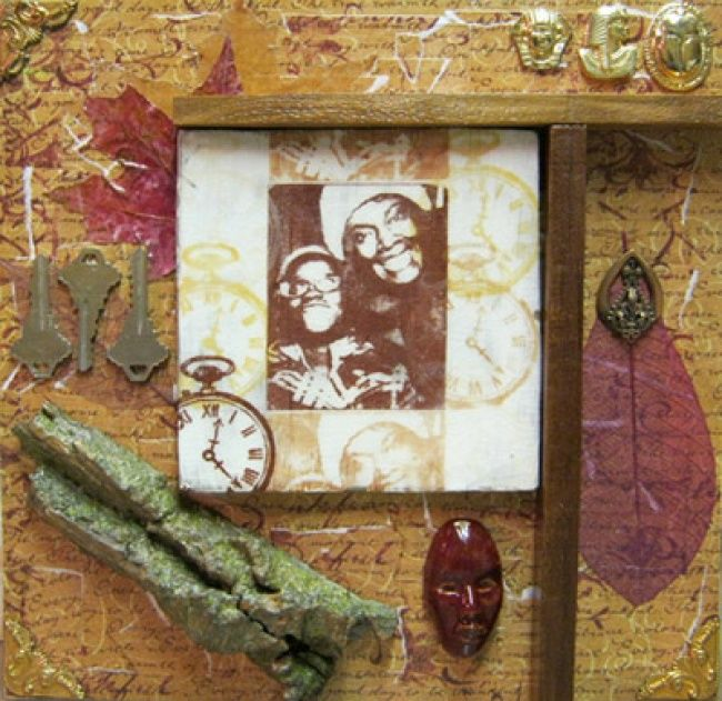 Daughterdom - Collages,  12x12 in, ©2012 by Juarez Hawkins -                                                              Mixed media assemblage