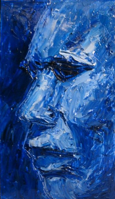 Study in Blue - Painting ©2012 by Juarez Hawkins -                            Portraiture, Oil Painting of person in profile