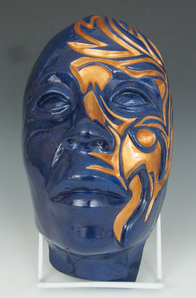 Lucha - Sculpture ©2015 by Juarez Hawkins -                                            Figurative Art, Ceramic, juarez, hawkins, clay, ceramic, mask