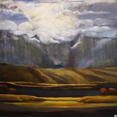 """Painting titled """"Cloud Burst"""" by Judith D'Agostino, Original Art, Oil"""