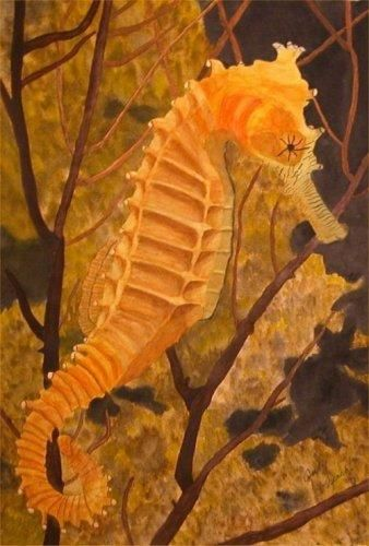 """Painting titled """"Resting Seahorse"""" by Judy Leach, Original Art, Oil"""