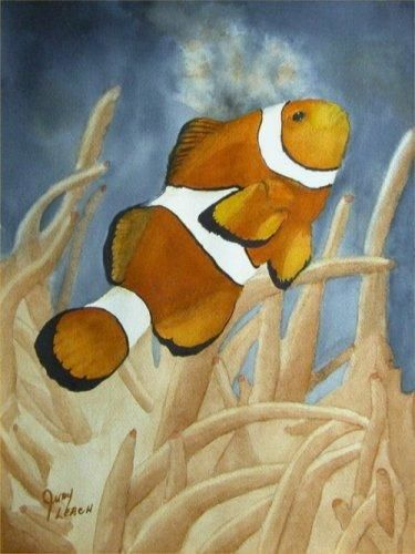 """Painting titled """"Clownfish"""" by Judy Leach, Original Art, Oil"""