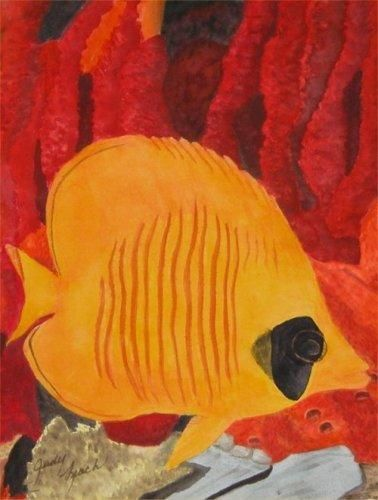 """Painting titled """"Butterfly Fish"""" by Judy Leach, Original Art, Oil"""