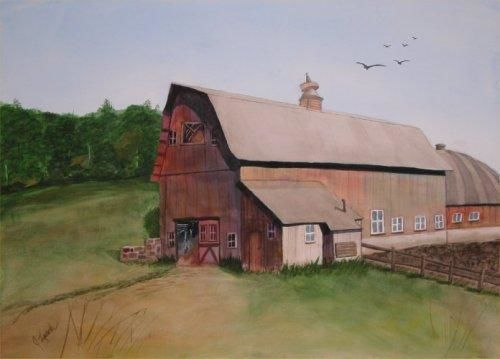 """Painting titled """"Country Barn"""" by Judy Leach, Original Art, Oil"""