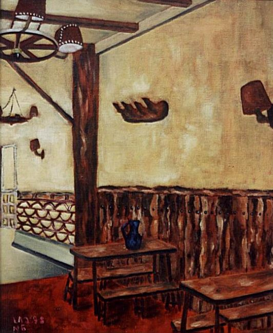Interieur Gasthaus - Painting,  19.7x15.8 in, ©1978 by Jürgen Lang -