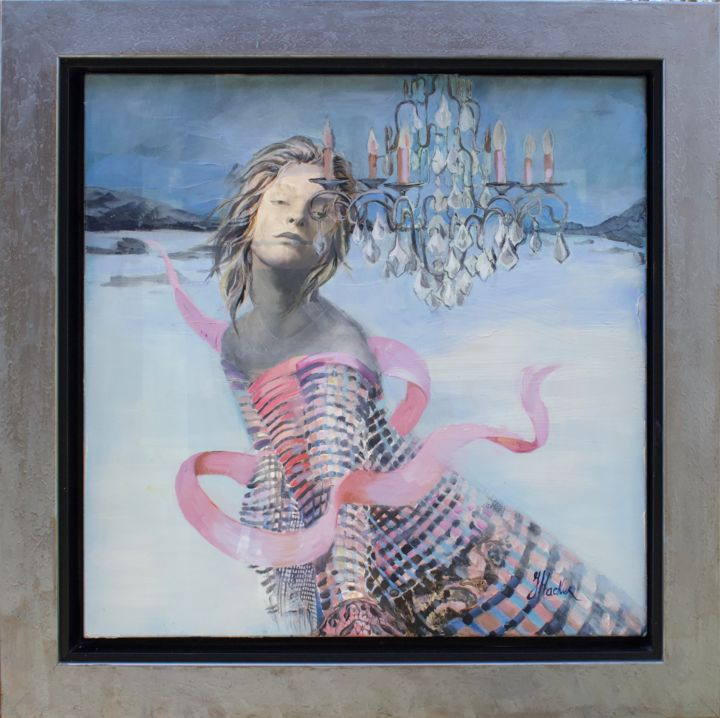 """Painting titled """"Baby, Its Cold Outs…"""" by Julia Hacker, Original Art, Acrylic Mounted on Stretcher frame"""