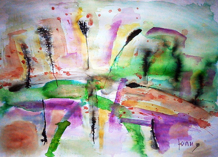 """Painting titled """"abstract landscape…"""" by July, Original Art, Ink"""