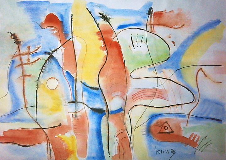 """Painting titled """"abstract landscape…"""" by July, Original Art, Tempera"""