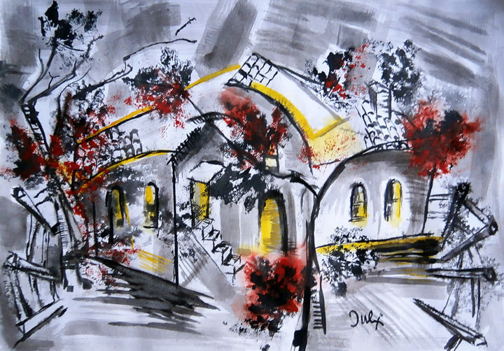 """Painting titled """"old house II"""" by July, Original Art, Ink"""