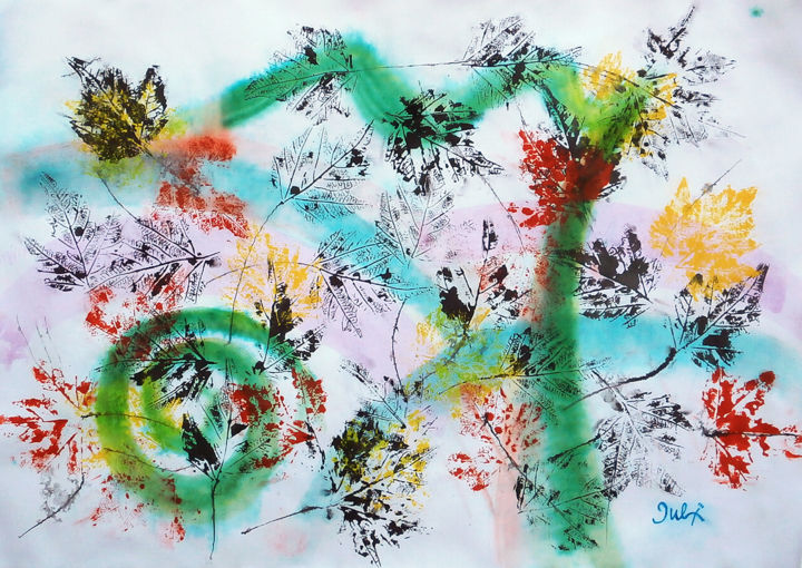 """Painting titled """"Autumn wind I"""" by July, Original Art, Ink"""
