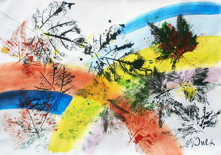 """Painting titled """"Autumn wind II"""" by July, Original Art, Ink"""