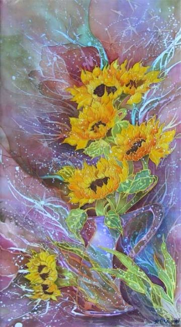 Sunflowers - Artcraft,  45x90 cm ©2008 by Julia Zisman -            sunflowers batik