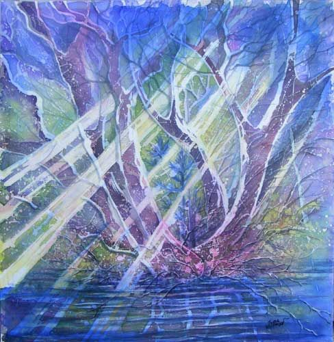 Wood and water - Artcraft,  71x70 cm ©2009 by Julia Zisman -            Wood water batik batic