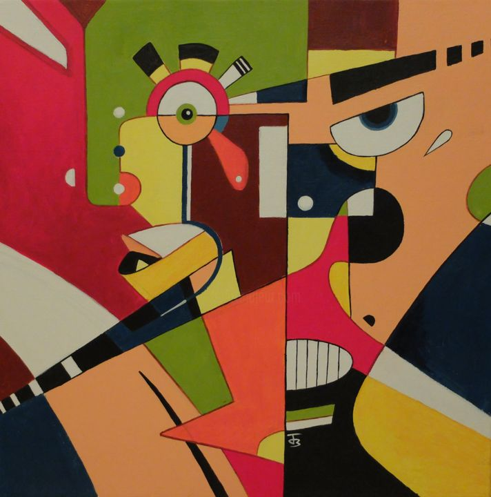 Personnages - Painting,  19.7x19.7 in, ©2014 by Julien B -                                                              Geometric