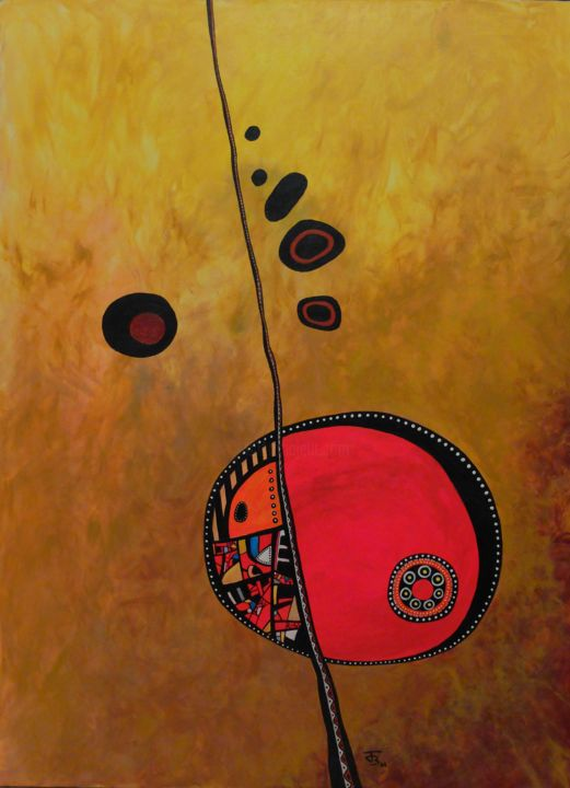 Soleil Rouge - Painting,  31.5x23.6 in, ©2008 by Julien B -                                                                                                                                                                                                                                                                                                                  Abstract, abstract-570, Abstract Art, géométrie, abstrait, contemporain