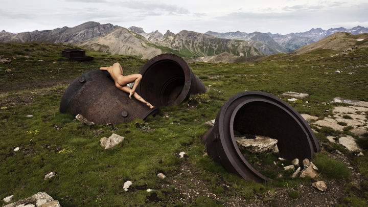 Black Holes #52 - Photography,  15.8x23.6 in, ©2018 by Julien Sunye -                                                                                                                                                                                                                                                                                                                                                                                                                                                                                                                                                                                                                                                                                                                              Figurative, figurative-594, Mountainscape, History, Landscape, Nude, Nature, maginot, alpes, nu artistique, art nude, landscape, war, trauma, traumatisme