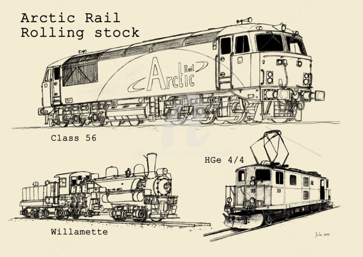 Arctic Rail rolling stock jpg Drawing by Julien Cachemaille