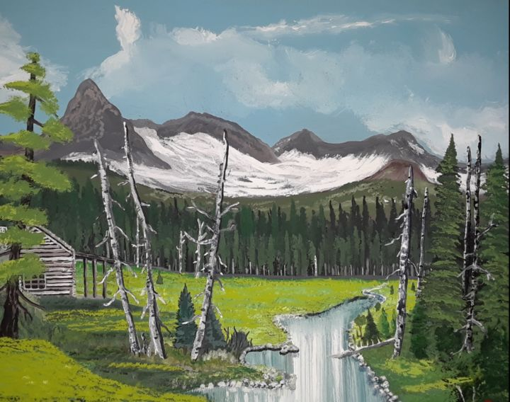 """Painting titled """"Cabin In Montana"""" by Julie Reid, Original Art, Acrylic"""