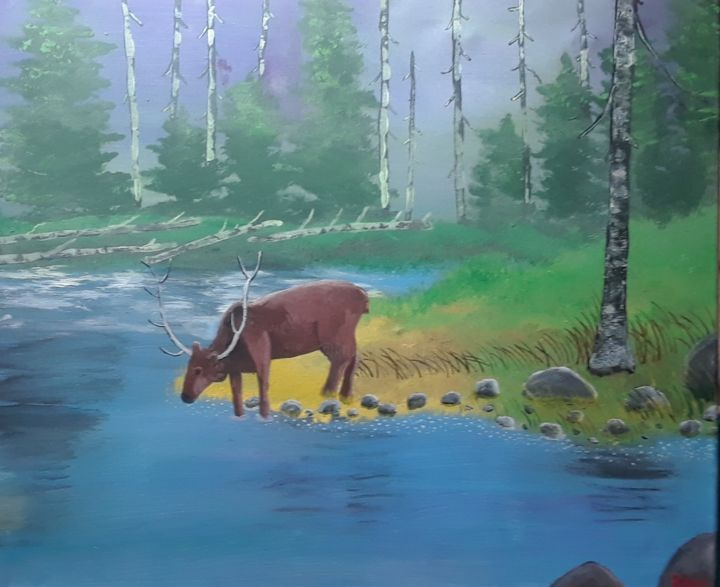 """Painting titled """"Thirsty Critter"""" by Julie Reid, Original Art, Acrylic"""