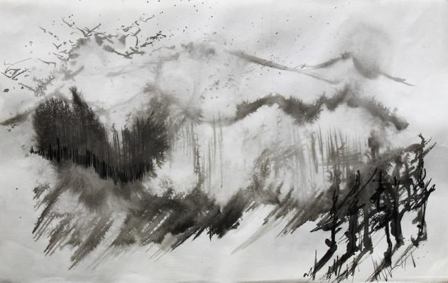 Landscape - Painting,  50x35 cm ©2012 by Julieta Jiterman -                        Asia