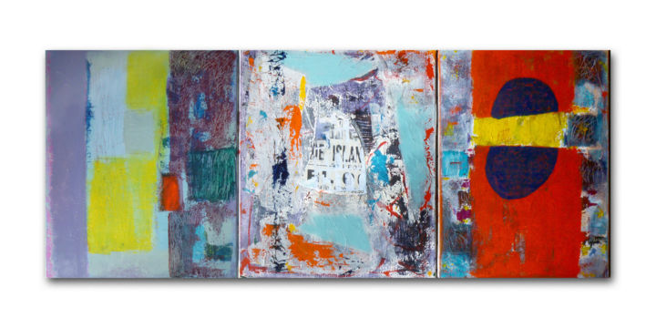 The Island - Painting,  46x112 cm ©2013 by Juliette Gallas -                                                        Abstract Art, Canvas, Abstract Art