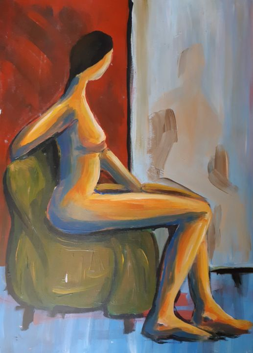 """Painting titled """"The Woman on the Ch…"""" by Jure Kralj, Original Art, Acrylic"""