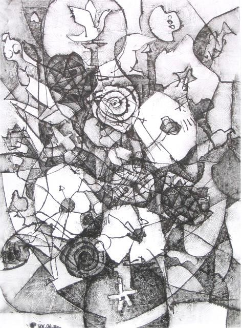 Drawing,  40 x 30 cm ©2004 by Kalashnikov Yury -  Drawing, artwork_cat.Black and White, Russian artist Yury Kalashnikov's graphics