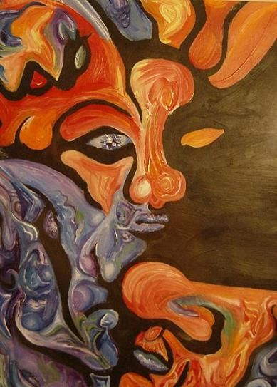 """Painting titled """"fireface"""" by Justin Hogge, Original Art, Oil"""