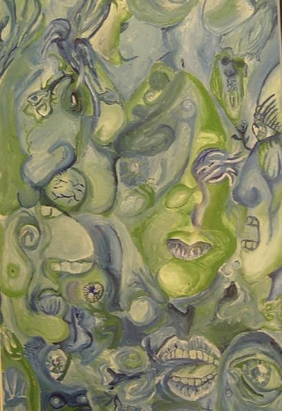 """Painting titled """"green dreams of gre…"""" by Justin Hogge, Original Art, Oil"""