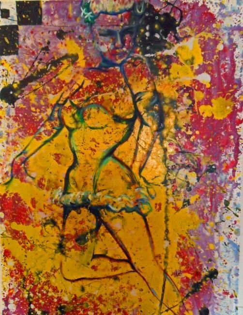 Ain't Nobody's Business if I Do - Painting,  36x24 in, ©2010 by Jill crowley -                                                                                                                                                                                                                                                                                                                                                          Expressionism, expressionism-591, Pin-up, abstract, expressionism, figurative, flower