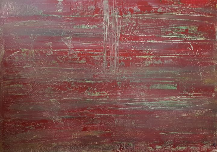 brett#rot# - Painting,  80x100x2 cm ©2018 by Jutta Christandl -                                        Abstract Art, Abstract Art