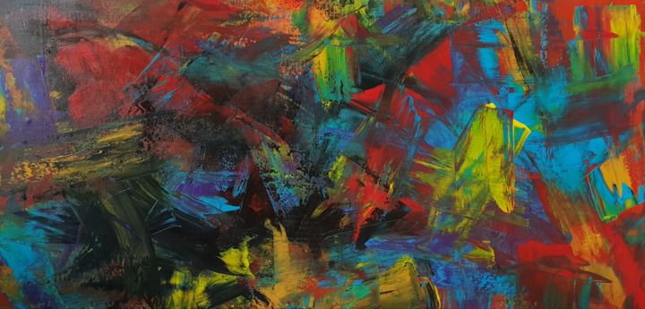 bunt - Painting,  15.8x31.5x0.8 in ©2019 by Jutta Christandl -                                        Abstract Art, Abstract Art