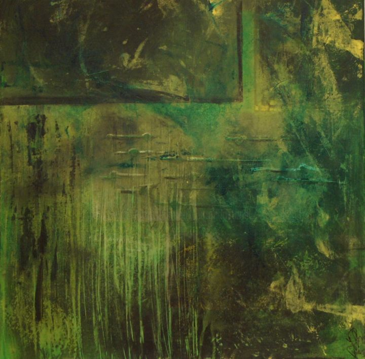 green day - Painting,  23.6x23.6x0.8 in ©2018 by Jutta Christandl -                                        Abstract Art, Abstract Art