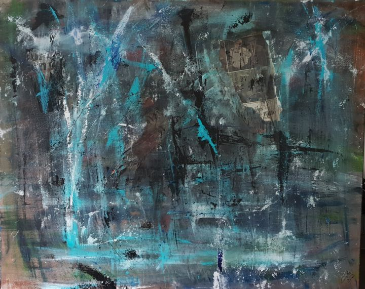 Blues - Painting,  31.5x39.4x0.8 in, ©2017 by Jutta Christandl -