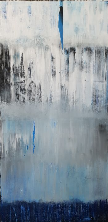 Bleu-gris - Painting,  39.4x19.7x0.8 in, ©2019 by Jutta Christandl -                                                                                                                                                                          Abstract, abstract-570, Abstract Art
