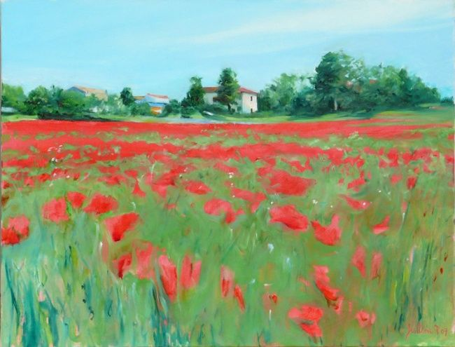 Champs de coquelicots en Provence - Painting,  19.7x25.6 in, ©2007 by Philippe Juttens -