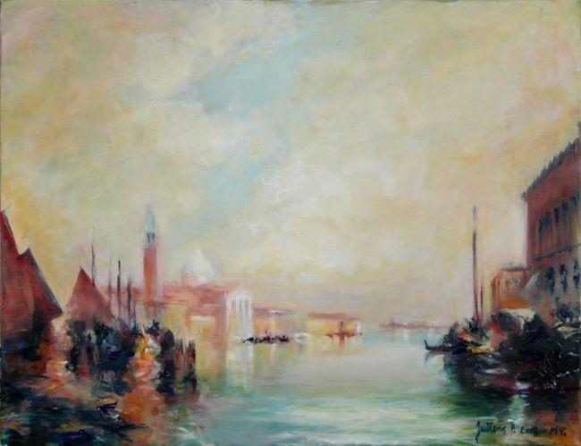 San Giorgio Maggiore (MT), Venise - Painting,  19.7x25.6 in, ©2009 by Philippe Juttens -