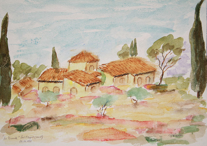 La Mirande. - Painting,  12.6x16.5 in, ©2014 by Jean Xavier Combe -                                                                                                                                                                                                                                                                                                                                                                                                                                                                                                                                              Impressionism, impressionism-603, Landscape, bastide, Provence, sud, toits, arbres, pins, oliviers, cyprès