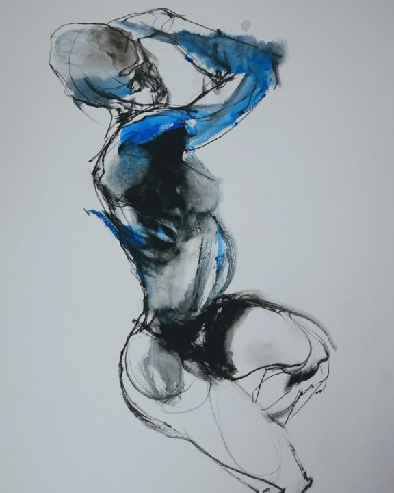 Sirène bleue - Painting,  70x50 cm ©2000 by Jean Yves Delalande -                                                                                                            Figurative Art, Paper, Love / Romance, Angels, Body, Women, Nude, sirène, bleu, songe, rêve