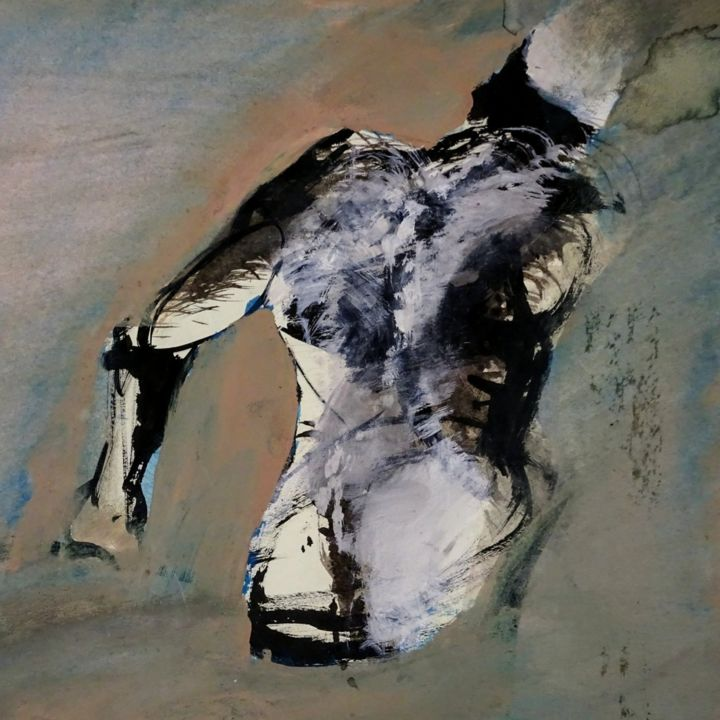 Homme brouillard - Painting,  25x25 cm ©2004 by Jean Yves Delalande -                                                        Figurative Art, Paper, Body